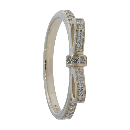Pandora Sparkling Bow Stackable Ring, Clear CZ, 14K Gold 150175CZ-54 (Pandora Ring Bow)