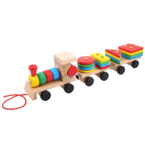Fdit Wooden Stacking Train Truck Blocks Baby Kids Early Developmental Toys Assemble Toddler Learning Educational Toy