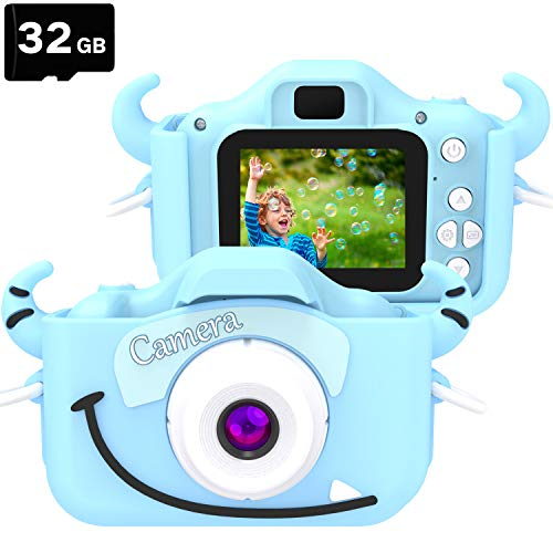Goopow Kids Camera Toys for 3-8 Year Old Boys,Children Digital Video Camcorder Camera with Cartoon Soft Silicone Cover, Best Birthday Festival Gift for Kids Children - 32G SD Card Included(Light Blue)