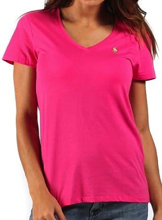 46c955fea69ae Ralph Lauren - T-shirt col V - rose fuchsia - femme - Taille XL ...
