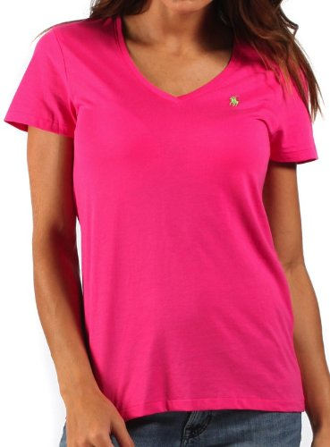 Ralph Lauren Womens T-Shirt V-Neck Fusia Pink - Medium  Amazon.co.uk   Clothing 8a0896c4b0b