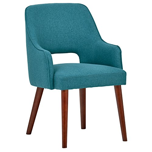 Rivet Whidbey Mid-Century Modern Open Back Kitchen Dining Room Accent Dining Chair, 22.8″W, Aqua Blue
