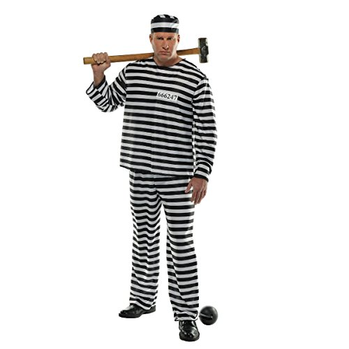 Jailer Halloween Costume (AMSCAN Convict Prisoner Halloween Costume for Men, Plus Size, with Included)