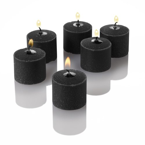 Set of 144 Black Unscented Richland Votive Candles and 144 Frosted Square Votive Holders