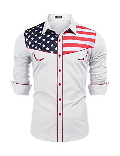 COOFANDY Mens Fashion Button Down Shirts Casual American Flag Long Sleeve Shirt,White,Large