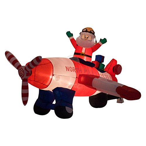 9Ft Lighted Inflatable Christmas Santa Claus Flying Airplane Airblown Yard Décor Xmas Decoration