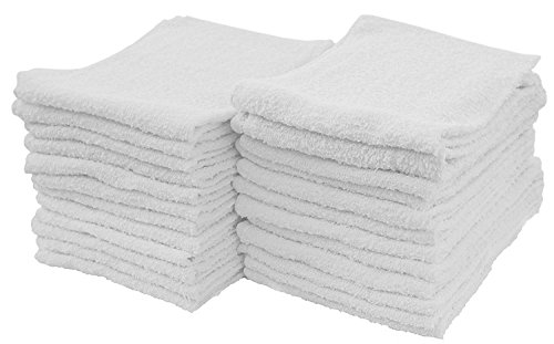 "S & T 593901 White 14"" x 17"" Cotton Terry Cleaning Towels, 24 Pack"