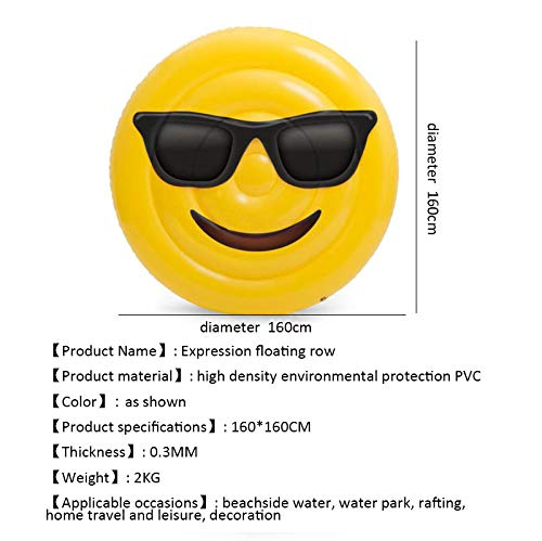 Giant Inflatable Emoji Cool Face Floating Row Adults Kids Summer Beach Toy Swimming Pool Party Lounge Round Raft-Yellow by WYL (Image #4)