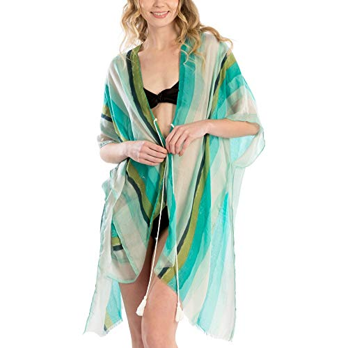 (by you Women Fashion Colorful Stripes Summer Beach Bikini Cover Up Shawl Wrap with Tassel Tie (Multi Color Striped - Mint))