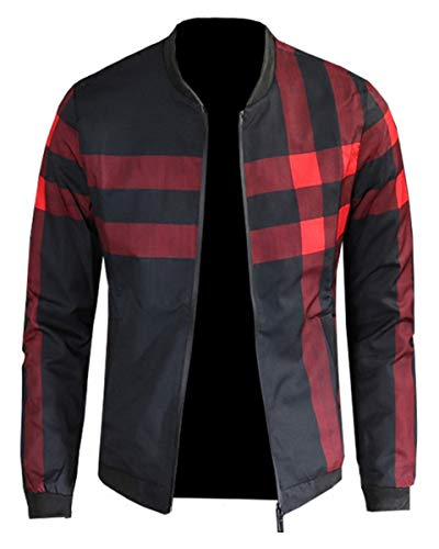 Men's Plaid Printed Pattern Lightweight Zip Up Baseball Bomber Jacket Coat Outerwear, 10#Color, US Small/36 = Tag XL