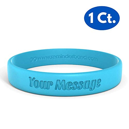 Reminderband Classic Custom 100% Silicone Wristband - Personalized Silicone Rubber Bracelet - Customized, Events, Gifts, Support, Causes, Fundraisers, Awareness - Men, Women, - Bracelets Jelly Custom