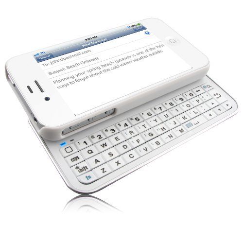 Naztech 11918 Ultra-thin Sliding Bluetooth Keyboard for Apple iPhone 4/iPhone 4 CDMA and iPhone 4S - Retail Packaging - White