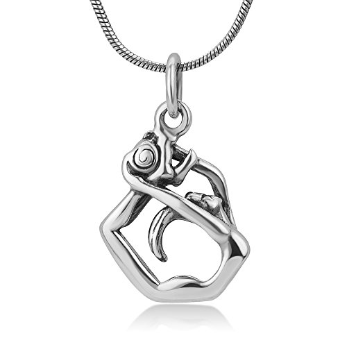 Chuvora 925 Oxidized Sterling Silver Rhythmic Gymnastic with Ball Gymnast Girl Pendant Charm Necklace 18