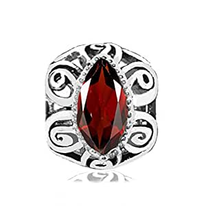 Sterling Silver Filigree Design Bead Charm with Garnet Gemstone (January Birthstone)