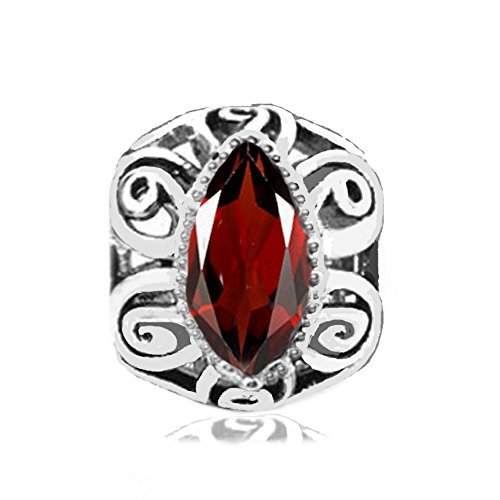 Jovana Sterling Silver Filigree Charm with January Birthstone Red Garnet, fits Pandora Braceet