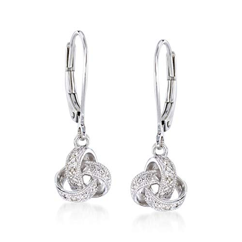 Ross-Simons Diamond Accented Love Knot Drop Earrings in Sterling Silver. Leverback Earrings