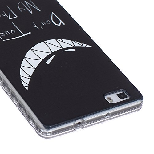 [Extremadamente Delgada] Funda 3D Silicona Transparent para Huawei P8 Lite ,Funda TPU Ultra Slim para Huawei P8 Lite , TOCASO Case Fina Slim Fit Cristal Clear, Transparent Slicona Clear Cover Glitteri Don't Touch My Phone