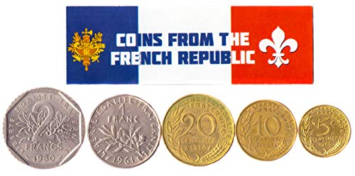Hobby of Kings Different Coins - Old, Collectible French Foreign Currency for Collecting Book - Unique, Commemorative World Money Sets - Gifts for Collectors - Collection of 5