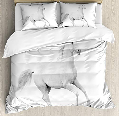 Equestrian Bedding - Ambesonne Black and White Duvet Cover Set Queen Size, White Stallion Running Horse Galloping Motion Speed Equestrian Print, Decorative 3 Piece Bedding Set with 2 Pillow Shams, White Black