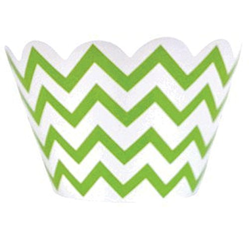 Just Artifacts Decorative Cupcake Paper Wrapper Muffin Holder - (40pc) Color: Chevron Green Apple - Decorations for Birthday Parties, Baby Showers, Weddings and Life -
