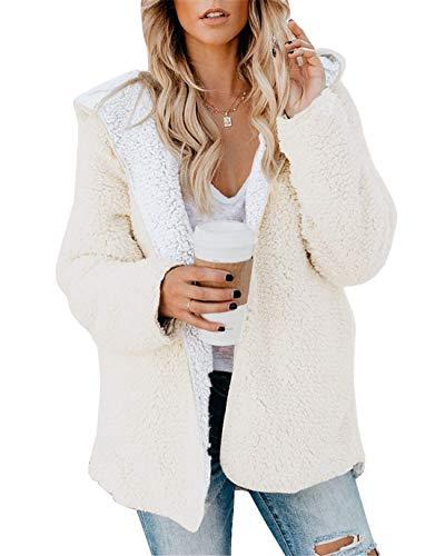 ReachMe Womens Oversized Sherpa Jacket Fuzzy Fleece Teddy Coat with Pockets Open Front Hooded Cardigan(White,XL)