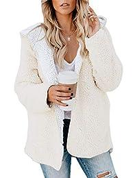 Womens Oversized Sherpa Jacket Fuzzy Fleece Teddy Coat with Pockets Open Front Hooded Cardigan