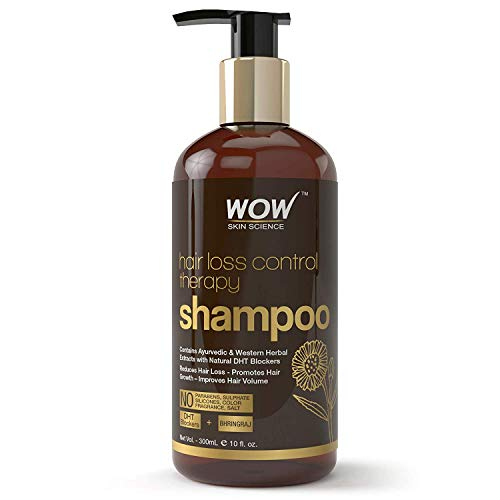 WOW Skin Science Hair Loss Control Therapy Shampoo - Increase Thick & Healthy Hair Growth - Contains Ayuvedic & Western Herbal Extracts with Natural DHT Blockers - For All Hair Types - 300 mL (Best Herbal Shampoo For Hair Loss In India)