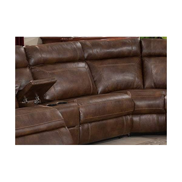 Christies Home Living CLARK-6PC-SECTIONAL 6-Piece Reclining Living Room Sectional with 3 Recliners, Clark, Brown
