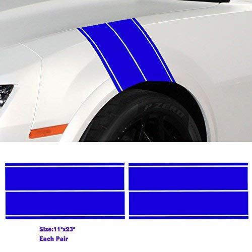Boilipoint 2Pair Universal Car Truck SUV Fender Hash Stripe Racing Graphic Decal Sticker Set Waterproof Vinyl Motor Sticker JDM Fashion Car Decorative Strips Free Size for All Cars SUV Matte Color