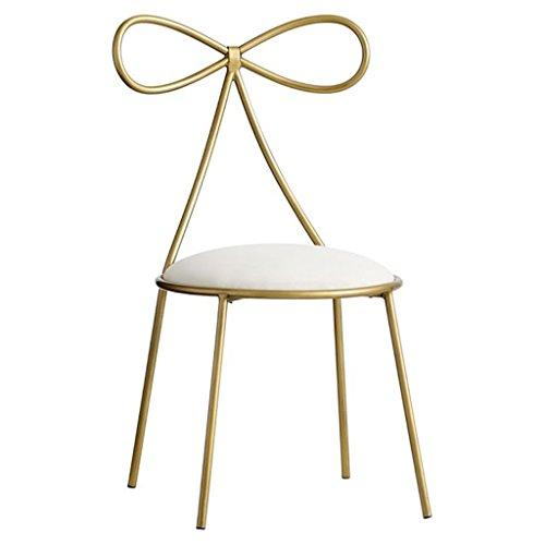 GLJ Nordic Fashion Wrought Iron Bow Princess Girl Heart Dresser Chair Single Back Modern Minimalist Dressing Stool Bar Stool -
