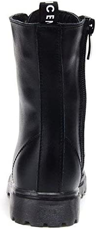 UBELLA Kids Boys Girls Black Leather High Top Zipper Lace-Up Martin Boots Combat Riding Boots