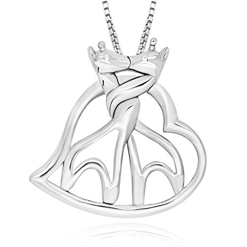 925 Sterling Silver Twin Hugging Giraffe Heart Pendant Necklace, 18