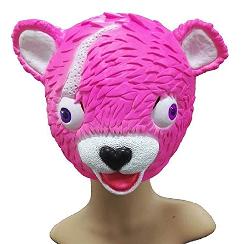 Matoen Cuddle Team Leader Pink Bear Game Mask Melting Face Adult Latex Costume Toy Spoof Mask (A, Pink)