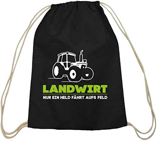 Landwirt Trecker, Traktor Bauer Baumwoll natur Turnbeutel Rucksack Sport Beutel schwarz natur