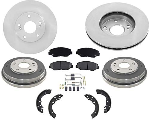 Fits 03-07 Honda Accord 4 Cly Front Rotors Rear Drums Ceramic Pads /& Rear Shoes