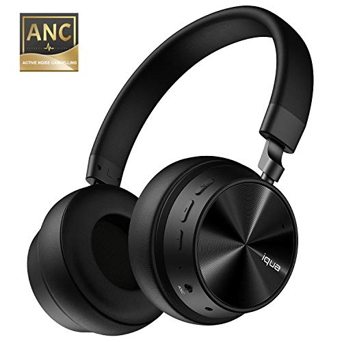 Iqua HF001 Active Noise Cancelling Headphones Bluetooth Headphones with Mic, Hi-Fi Deep Bass Wireless Headphones Over Ear, Soft Protein Earpads, 48H Playtime for Travel Work TV PC Cellphone-Black