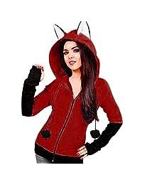 Pervobs Women Autumn Fox Ears Hooded Sweatshirts Coat Zipper Coat Jacket Outwear