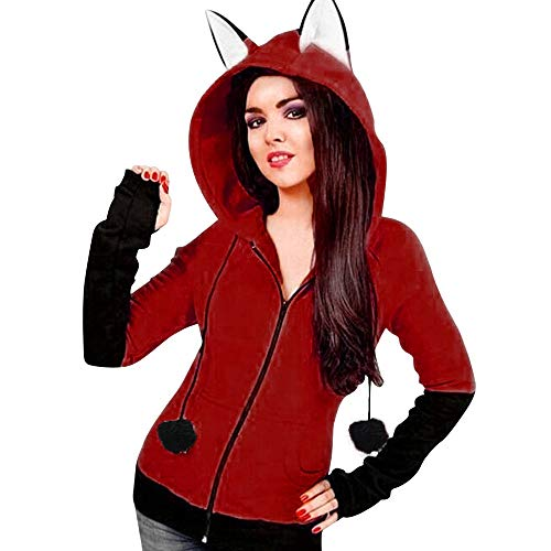 iDWZA Women's Fox Ear Zipper Hooded Sweatshirts Coat Hoodies Jacket Outwear(XL,Wine)