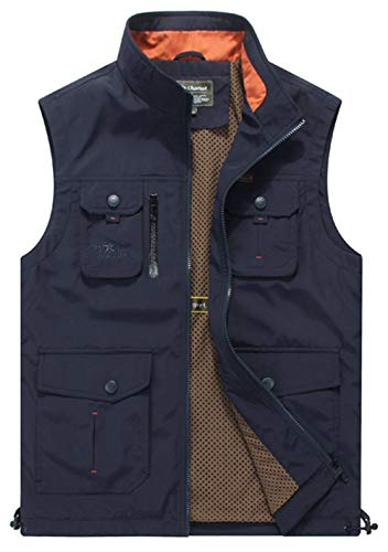 KOESON Multi Pockets Quick-Dry Vest Fishing Travel Photography Vest Outdoor Hunting Breathable Waistcoat Jackets-XXXL Blue ()