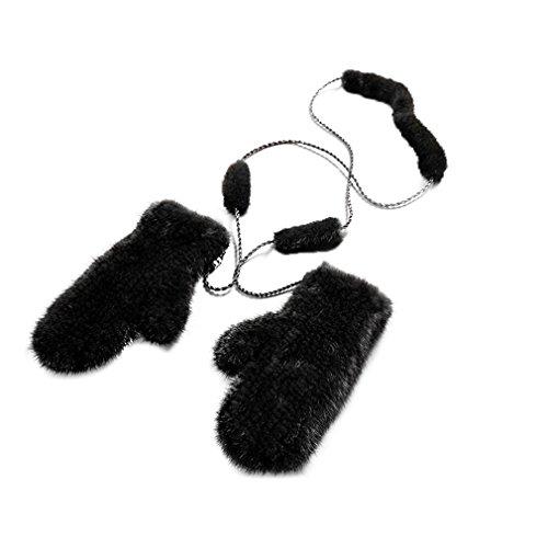 Fur Story Women's Knitted Real Mink Fur Gloves Winter Warm Gloves(Black)
