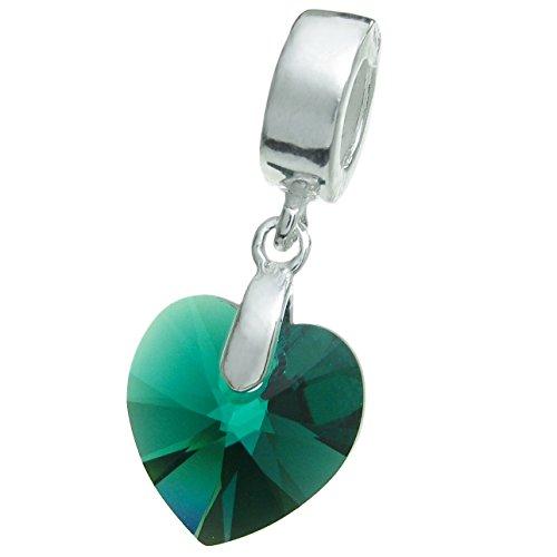 (925 Sterling Silver Birthday May Green Heart European Dangle Charm using Swarovski Elements Crystal)