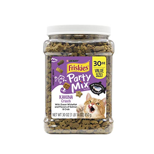 Purina Friskies Made in USA Facilities Cat Treats, Party Mix Kahuna Crunch - 30 oz. Canister (30 Ounce Canister)