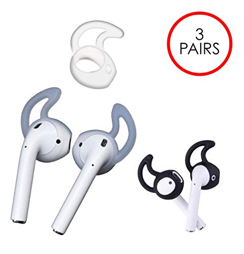 HM Airpods Cover (3 Pairs) - Best Original Accessories for Apple Air Pods - Ultra Superior Grip Earhooks & Increased Comfort Tips - Perfect Silicon Hooks for Your Strange Alien Ear