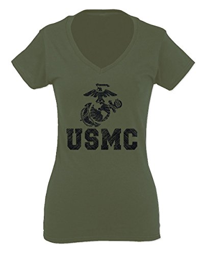 Black Marine Corp USMC Big Logo Seal United States of America USA American for Women V Neck Fitted T Shirt (Olive ()