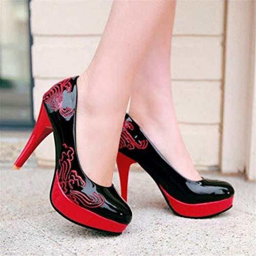 Cuir Mode Forme Femmes Pompes Plate Chaussures Noir Talons Talons élégante Hauts de Sexy Talons Rondes Les Aiguilles en gXSUqqw