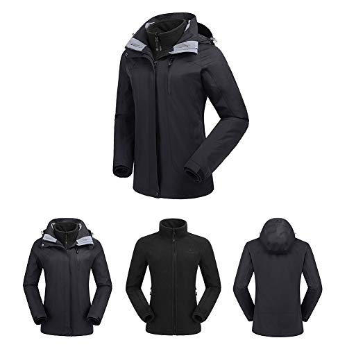 CAMEL CROWN Women's Ski Waterproof Jacket Fleece Inner Breathable Lightweight Rain Coats Hooded Windproof Softshell Snowboard Jacket for Hiking Camping Outdoor Travel by CAMEL CROWN (Image #2)
