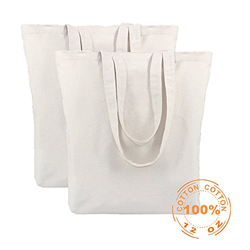 Antecrea 100% Cotton Canvas Washable Grocery Tote Bag Handmade from 12-ounce with Bottom Gusset – Natural (2 Pack)