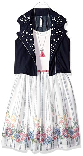 Beautees Girls' Big Babydoll Dress with Moto Vest, Navy, 8