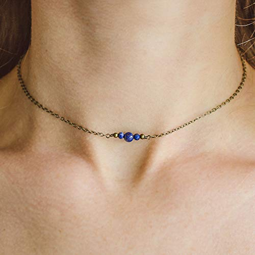 Dainty lapis lazuli gemstone choker necklace in bronze - 12