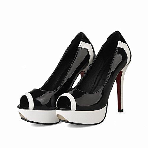 Carolbar Womens Peep Toe Platform Party Stilettos Hoge Hakken Kleding Schoenen Zwart